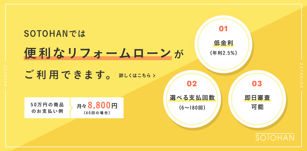 SOTOHAN ソトハンでは、便利なリフォームローンがご利用できます。50万円の商品のお支払例、月々8,800円(60回払いの場合)。1、低金利(年利2.5%)。2、選べる支払回数(6~180回)。3、即日審査可能。