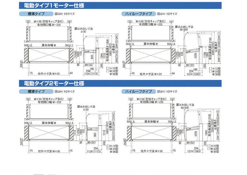 跳ね上げゲート ワイドオーバードアS3型(電動) 図面