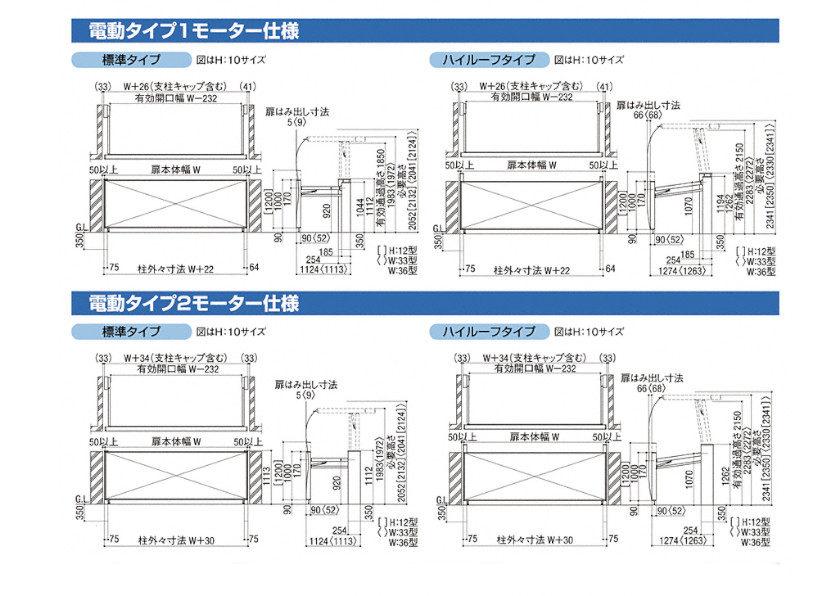 跳ね上げゲート ワイドオーバードアS4型(電動) 図面