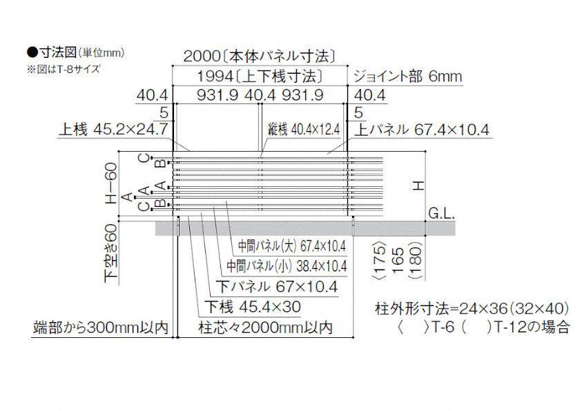 フェンスAA YR1型横格子ランダム 図面