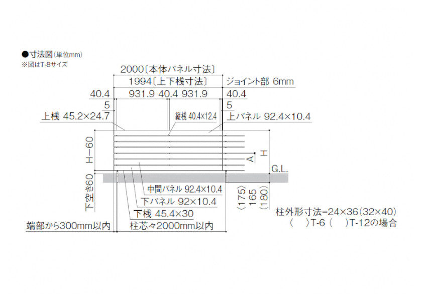 フェンスAA YS3型横スリット<板張り> 図面