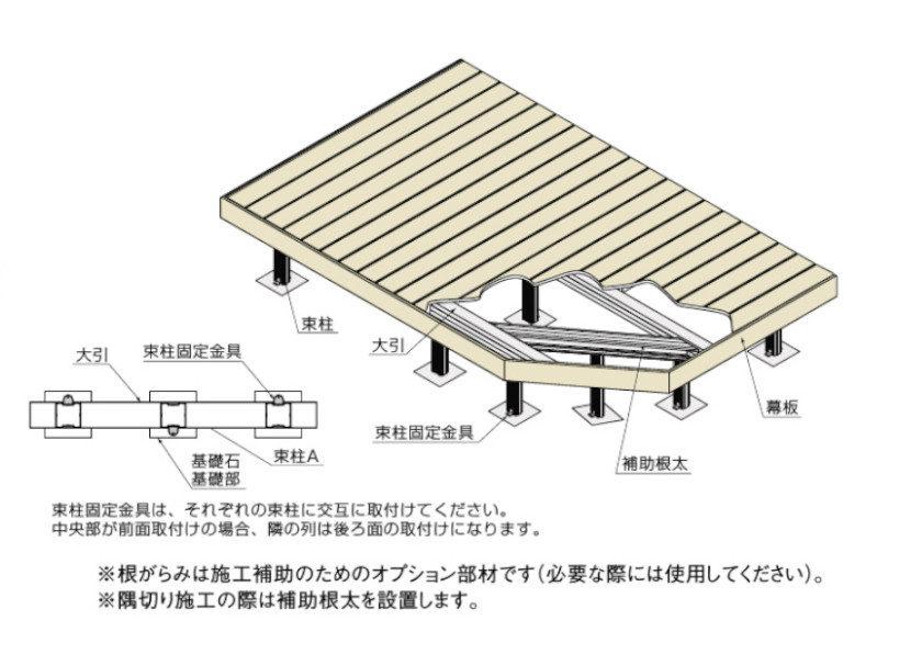ウッドデッキ樹ら楽ステージ木彫図面05