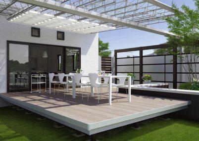 屋外での空間 ガーデンフロア ラステラ 張り出し納まり 三協アルミ