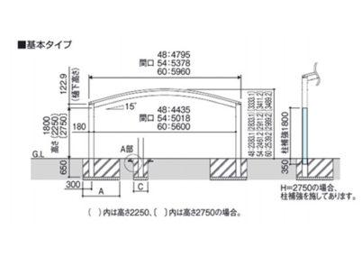 A図 ワイド 積雪30 カムフィエースZ 三協アルミ カーポート