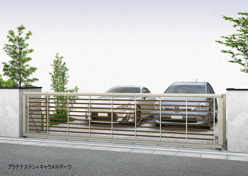 プラチナステン+キャラメルチーク 木調 ルシアスアップゲートワイド 3型 横太格子YKKAP