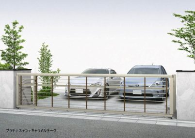 プラチナステン+キャラメルチーク 木調ルシアスアップゲートワイド 1型 横格子 手動YKKAP