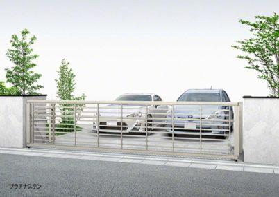 プラチナステン 3型 横太格子 手動ルシアスアップゲートワイドYKKAP