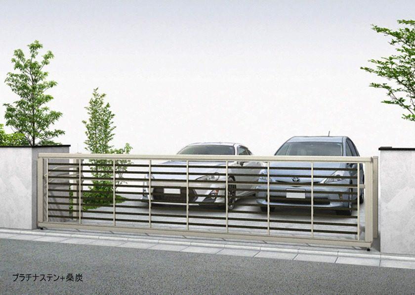 プラチナステン+桑炭 木調 ルシアスアップゲートワイド 3型 横太格子YKKAP