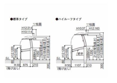 図面画像手動ルシアスアップゲートワイド 1型 横格子YKKAP
