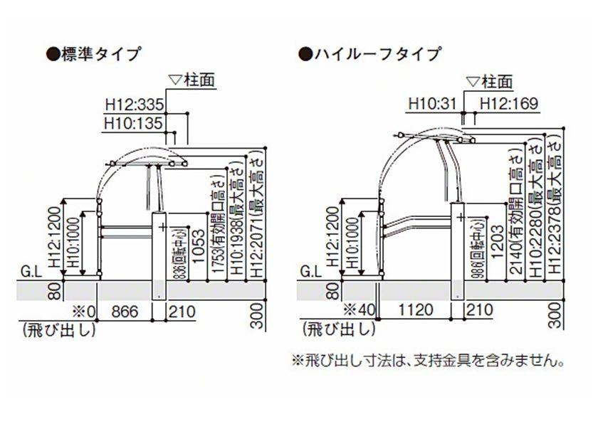 図面画像 電動 ルシアスアップゲートワイド 1型 横格子YKKAP