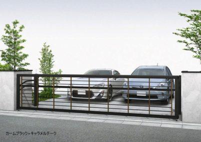 カームブラック+キャラメルチーク 木調ルシアスアップゲートワイド 1型 横格子 手動YKKAP