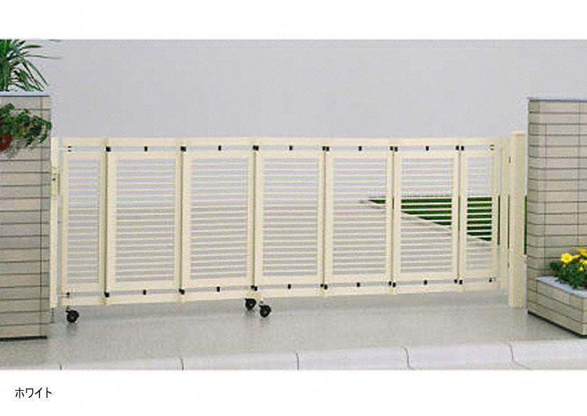 ホワイト 片開き エクスライン伸縮ゲート1型 ノンレール YKKAP