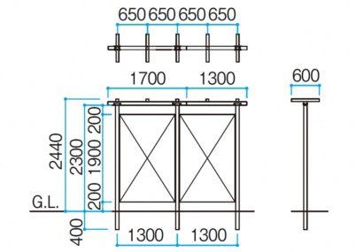 図面画像横連棟 トレメッシュ ストレートパーゴラTAKASHO