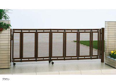 ブラウン 片開き エクスライン伸縮ゲート1型 ノンレール YKKAP