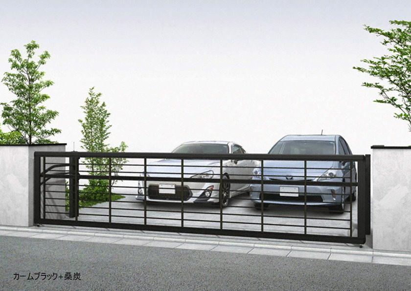 カームブラック+桑炭 木調ルシアスアップゲートワイド 1型 横格子 手動YKKAP