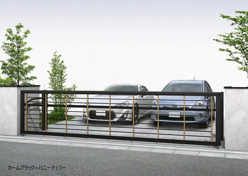 カームブラック+ハニーチェリー 木調ルシアスアップゲートワイド 1型 横格子 手動YKKAP