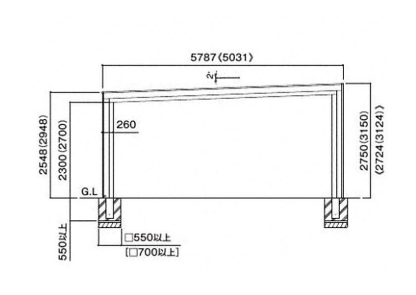 図面画像フェアポート1台用 積雪50cm四国化成