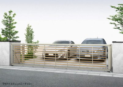 プラチナステン+ハニーチェリー木調 ルシアスアップゲートワイド 3型 横太格子YKKAP