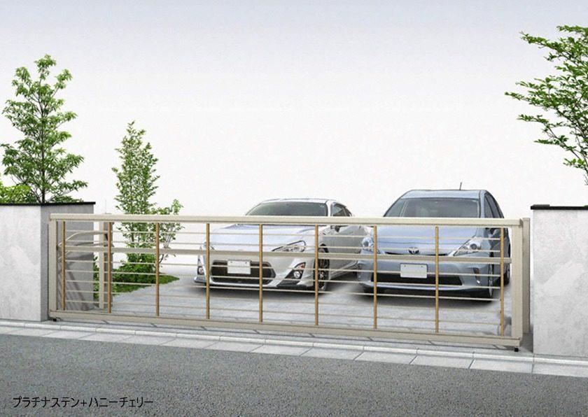 プラチナステン+ハニーチェリー 木調ルシアスアップゲートワイド 1型 横格子 手動YKKAP