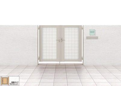 見本画像 7型 井桁格子 片開きライシス門扉