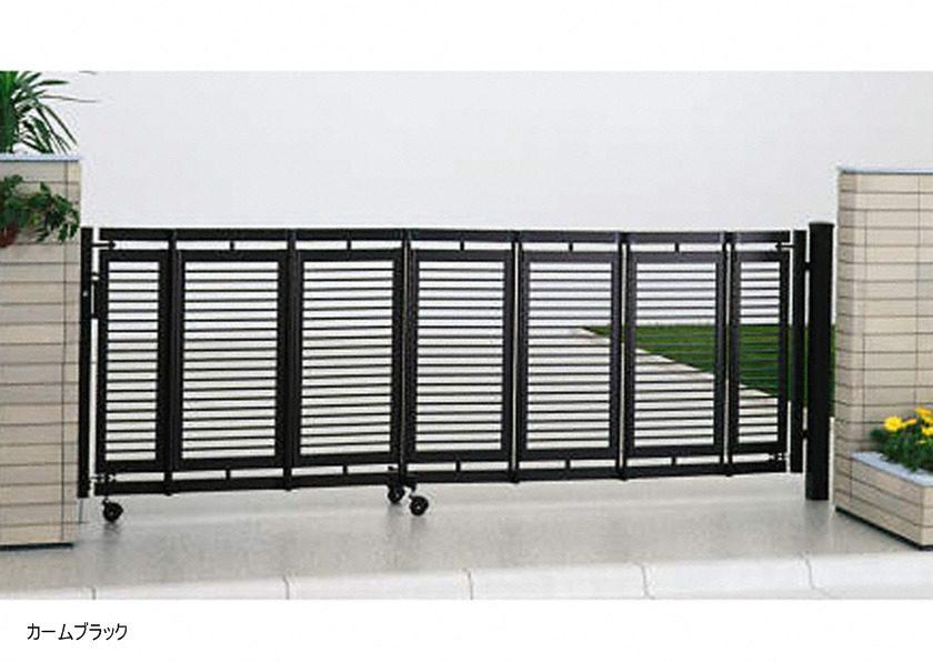 カームブラック 片開き エクスライン伸縮ゲート1型 ノンレール YKKAP