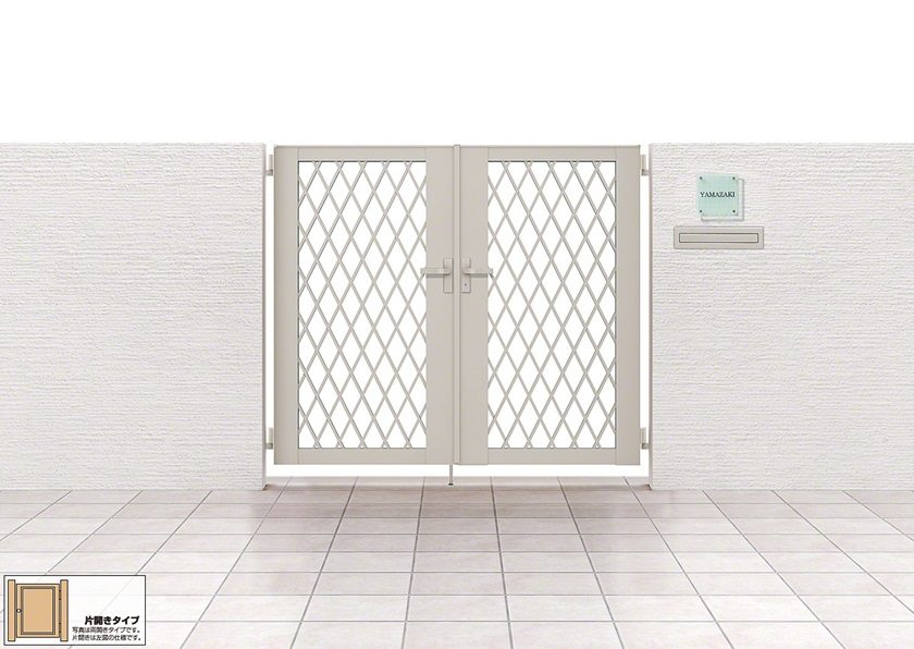 ダイヤ格子 片開きライシス門扉 8型 LIXIL