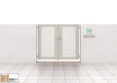 見本画像 7型 井桁格子 両開き親子ライシス門扉