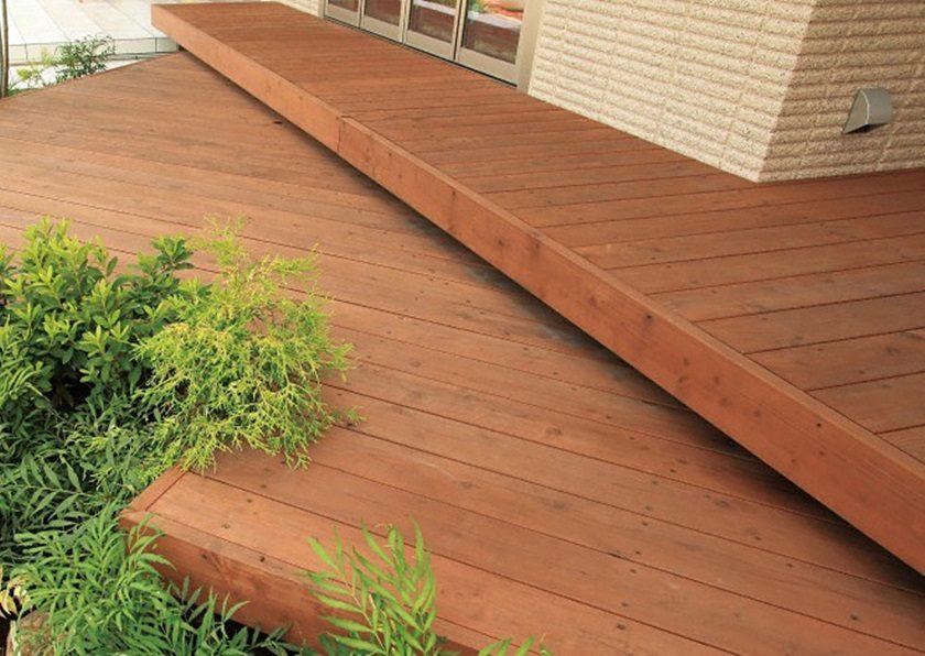 天然木タンモクウッドデッキセット 塗装済み床板TAKASHO