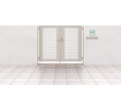 見本画像 7型 井桁格子 両開きライシス門扉