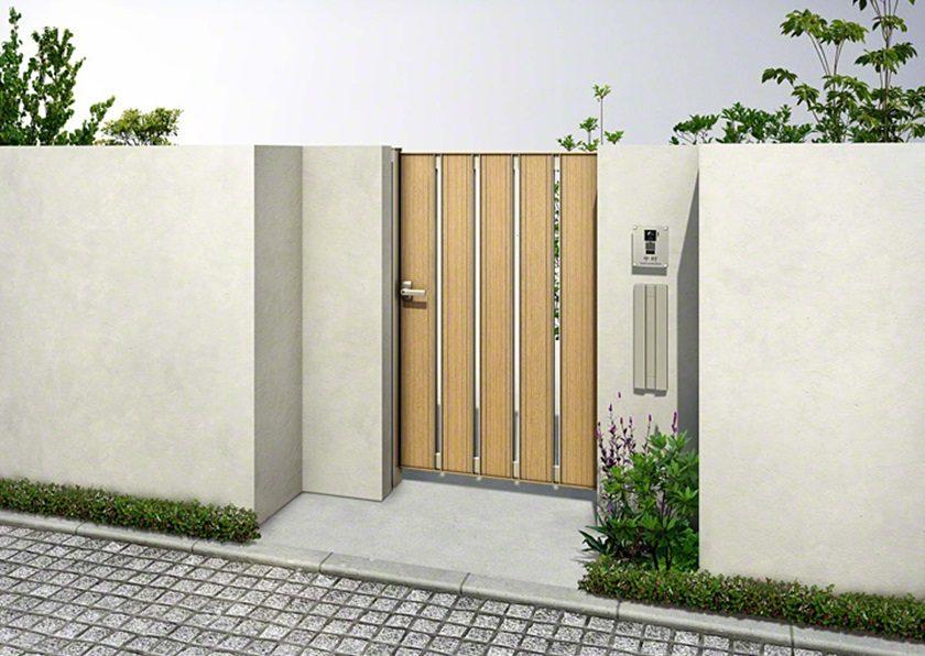 木調片開き ルシアス門扉AS01型 たてスリットYKKAP