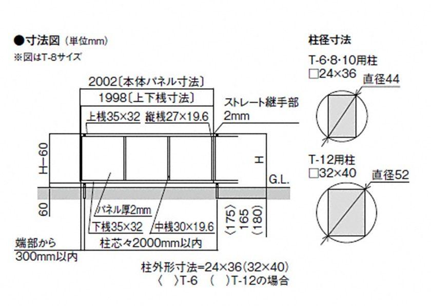 図面画像 YT1型 採光パネル フェンスAB LIXIL