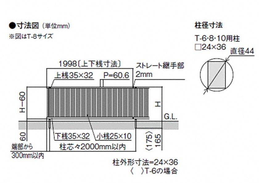 図面画像 TR3型 縦格子3 フェンスA LIXIL