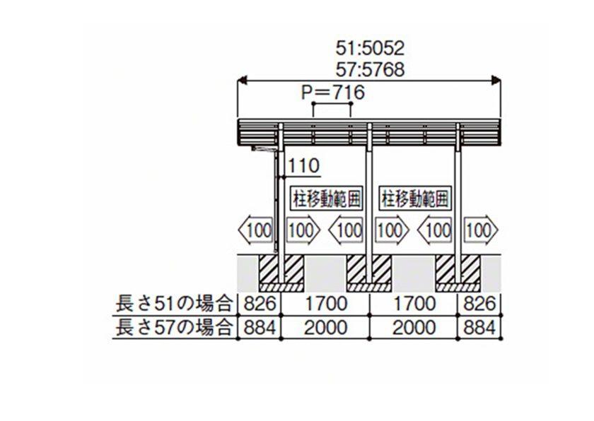 図面画像M合掌積雪50cm対応 レイナポートグラン50 YKKAP