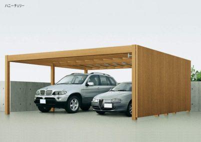 ハニーチェリー YKKAP リレーリアカーポート 2台用 木調