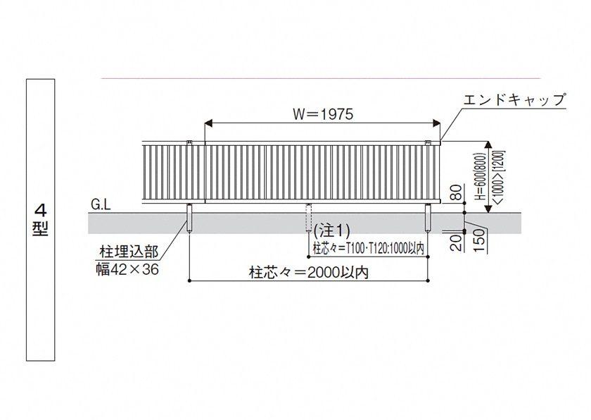 図面画像4型 たて太格子シンプレオフェンスYKKAP