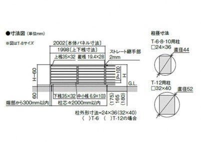 図面画像 YL2型 横ルーバー2 フェンスAB LIXIL