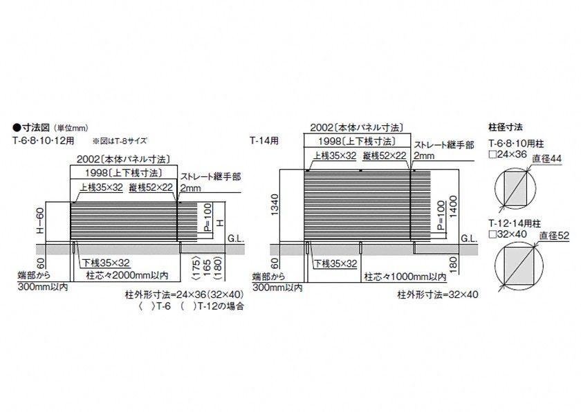 図面画像 YM1型 横目隠し1 フェンスAB LIXIL