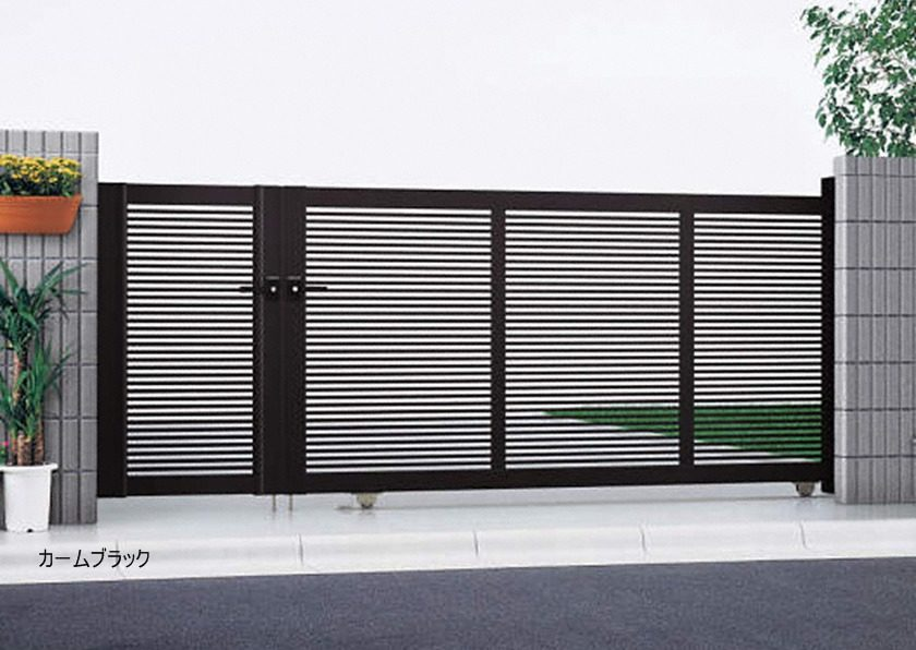 カームブラック 1型 開き戸付きタイプ エクスライン引戸 YKKAP