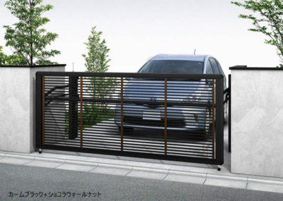 カームブラック+ショコラウォールナット 木調1型 横格子 手動ルシアスアップゲート YKKAP