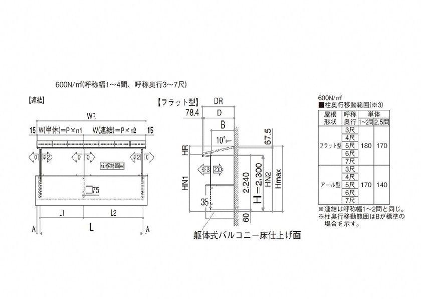 図面画像 F型 屋根タイプ連棟 ソラリア YKKAP