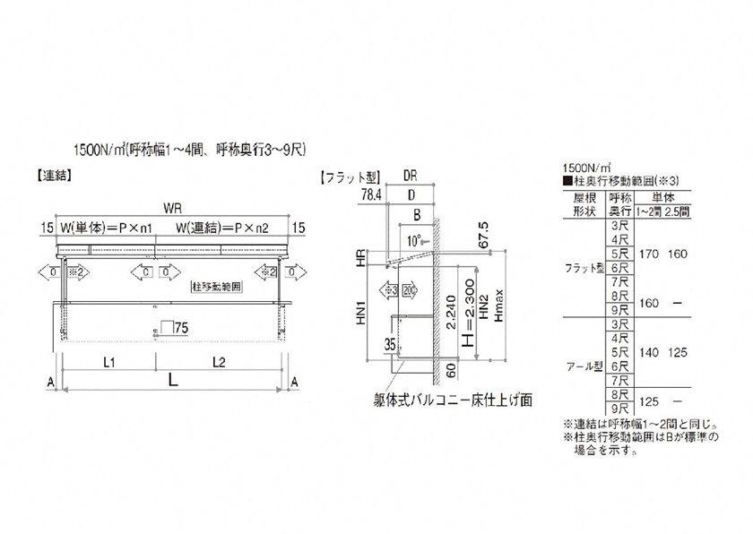 図面画像 積雪50cm対応 屋根タイプ 連棟 YKKAP ソラリア