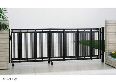 カームブラック 2型 ノンレール 片開きエクスライン伸縮ゲート YKKAP