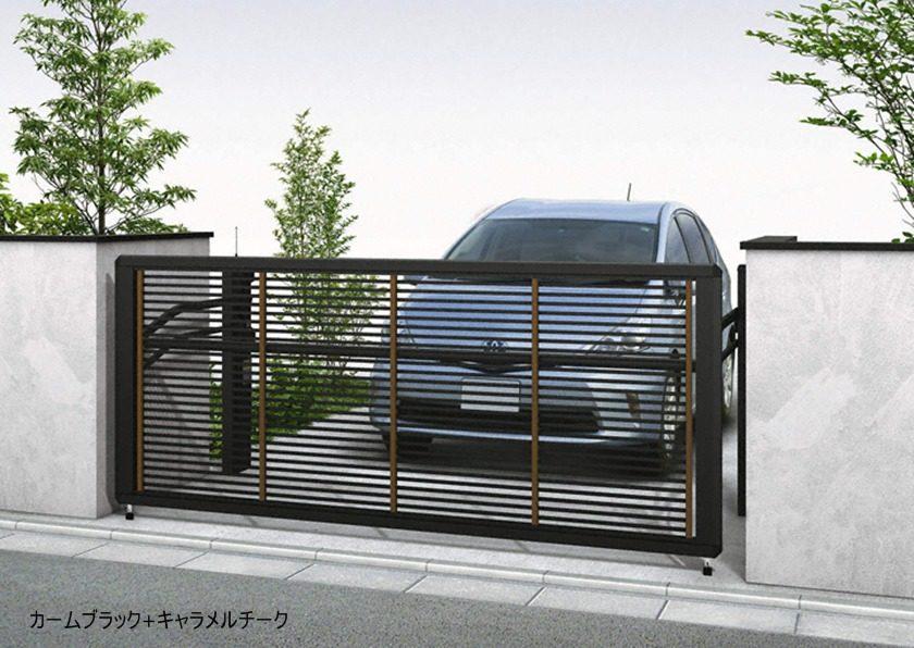 カームブラック+キャラメルチーク 木調1型 横格子 手動ルシアスアップゲート YKKAP