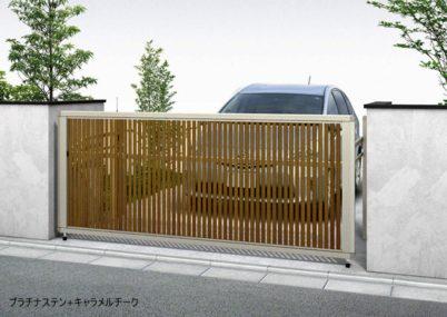 プラチナステン+キャラメルチーク 木調 4型 たて太格子 手動 ルシアスアップゲート YKKAP