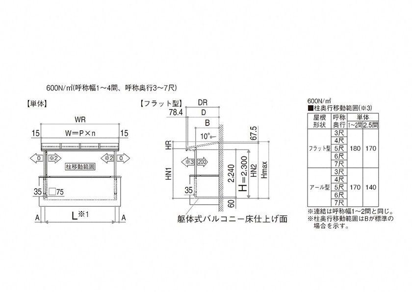 図面画像 F型 屋根タイプ 単体 ソラリア YKKAP