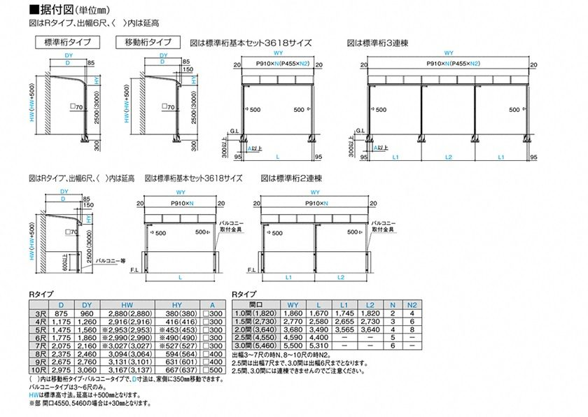 図面画像 四国化成 バリューテラスE R型 屋根タイプ 単体