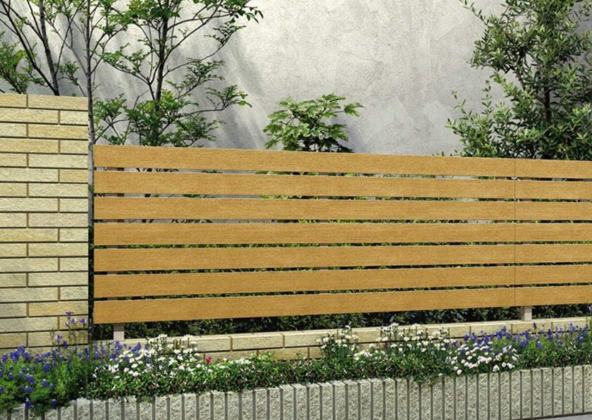 ハニーチェリー 木調 H02型 横板格子 ルシアスフェンス YKKAP
