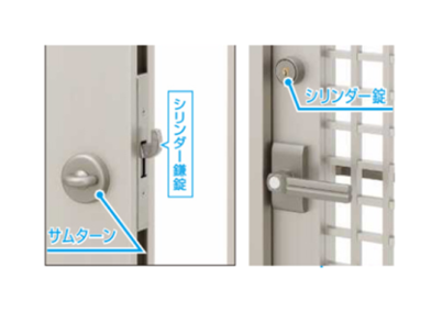 引手は固定ハンドルで、施解錠は上部シリンダー鎌錠にて行います。