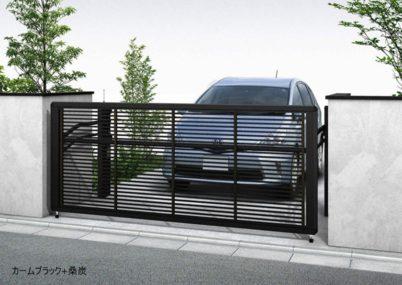 カームブラック+桑炭 木調1型 横格子 手動ルシアスアップゲート YKKAP