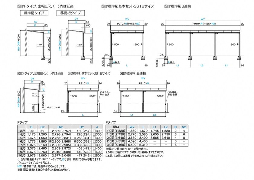 図面画像 バリューテラスE F型 屋根タイプ 単体 四国化成